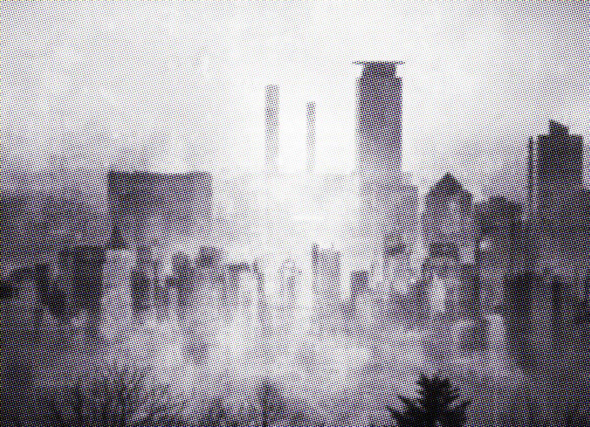 The sweeping skyline of Satyrine, shrouded in mist