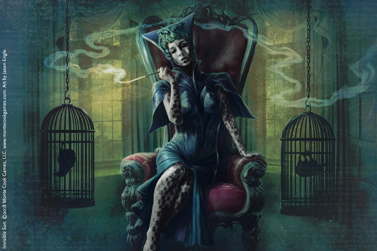 A striking woman in an angular dress sits smoking in a velvet chair flanked by two cages containing upside-down ravens.