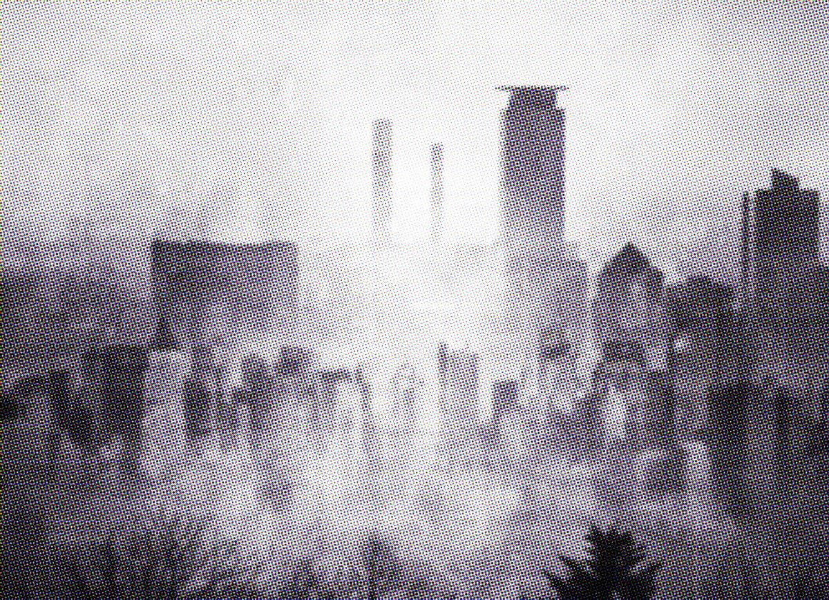 The sweeping skyline of Satyrine, shrouded in mist